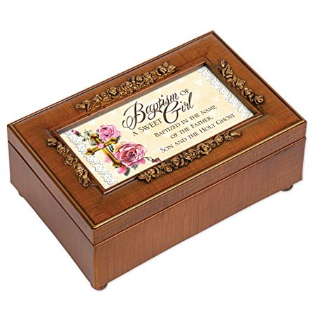 Cottage Garden Baptism of a Sweet Girl Woodgrain Embossed Jewelry Music Box Plays Ave Maria - image 4 of 4