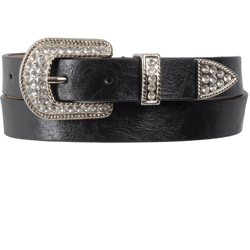 Brinley Co Womens Rhinestone Buckle Skinny Belt