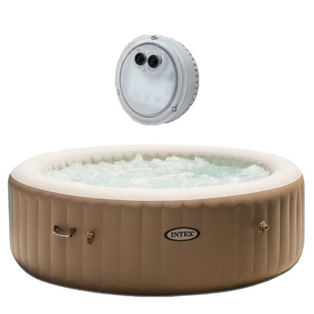 Intex Inflatable Pure Spa 6 Person Heated Bubble Jet Hot Tub + Battery LED