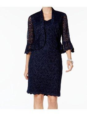 5def2d658d5 Product Image R M Richards NEW Blue Womens Size 12P Petite Sequined Sheath  Dress