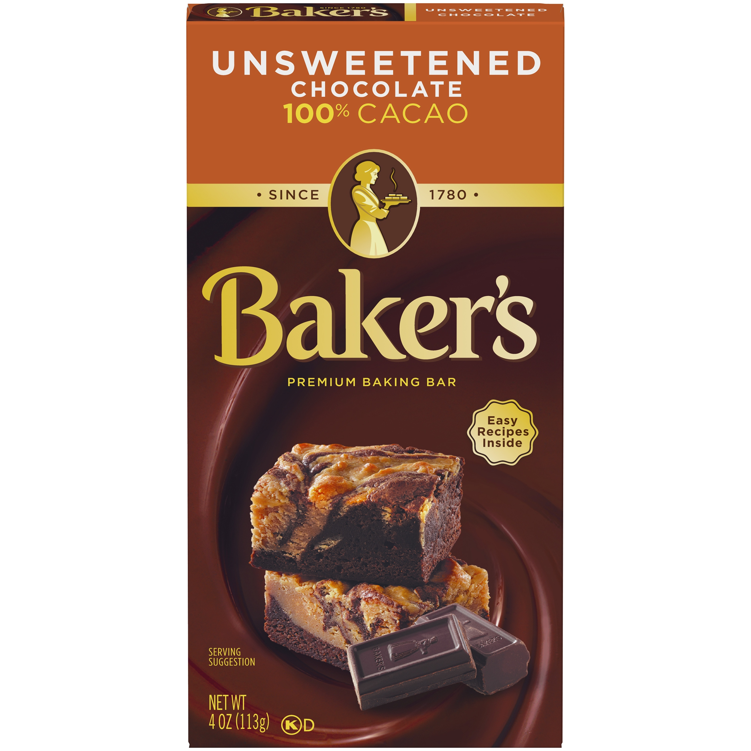 Baker's Unsweetened Chocolate Premium Baking Bar 4 oz. Box