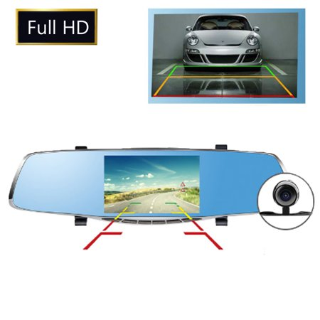 5'' 1080P Car DVR Dual Lens Camera Rear View Mirror Video Dash Cam Recorder Cam - image 5 of 5