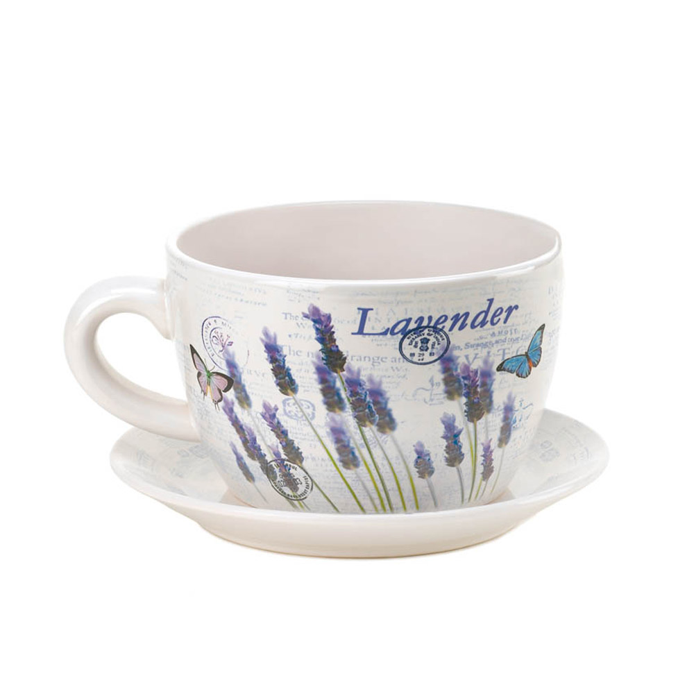 Teacup Planter Lavender Fields Decorative Large Ceramic Pot Planter