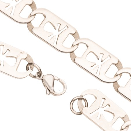 Cross Bone Cut Out Flat Anchor Stainless Steel Necklace Chain 10*2mm Sold per pkg of 22Inch