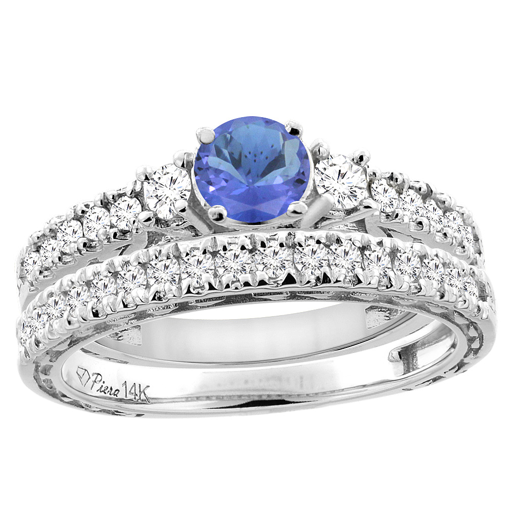 14K White Gold Diamond Natural Tanzanite Engagement 2-pc Ring Set Engraved Round 6 mm, size 6.5 by Gabriella Gold