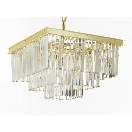 Retro Palladium Crystal Glass Fringe 3 Tier Chandelier Gold