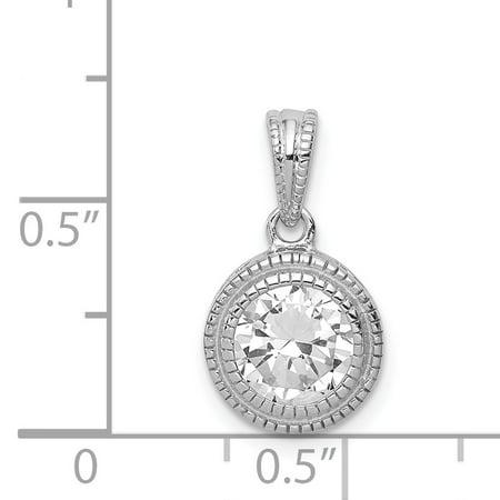 925 Sterling Silver Cubic Zirconia Circle X Edge Pendant - image 1 de 2