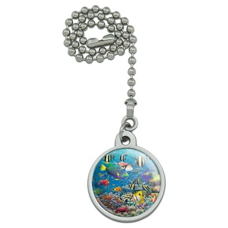 Ocean Coral Reef Angel Clown Fish Diving Ceiling Fan and Light Pull Chain Clown Musical Pull
