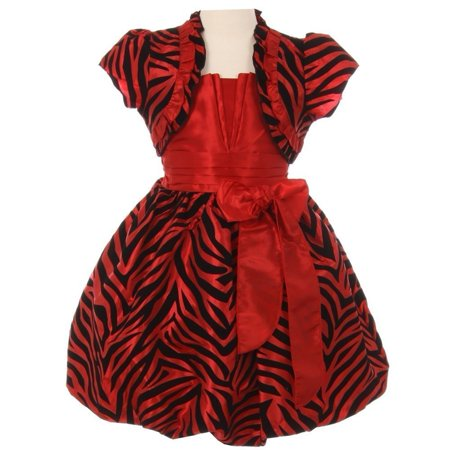 Little Girls Red Zebra Stripe Ribbon Tie Bolero Taffeta Christmas - Zebra Girls