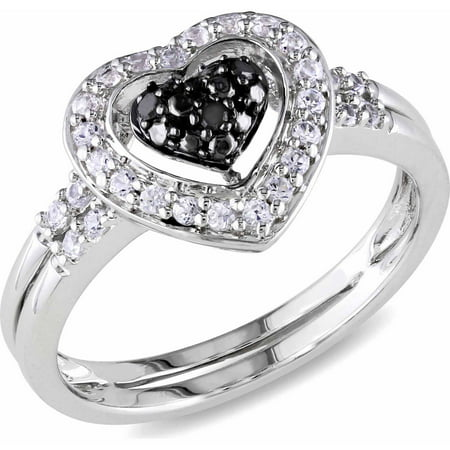 Silver Black Heart Ring - 1/3 Carat T.G.W. Created White Sapphire and Black Diamond-Accent Sterling Silver Double Band Heart Ring