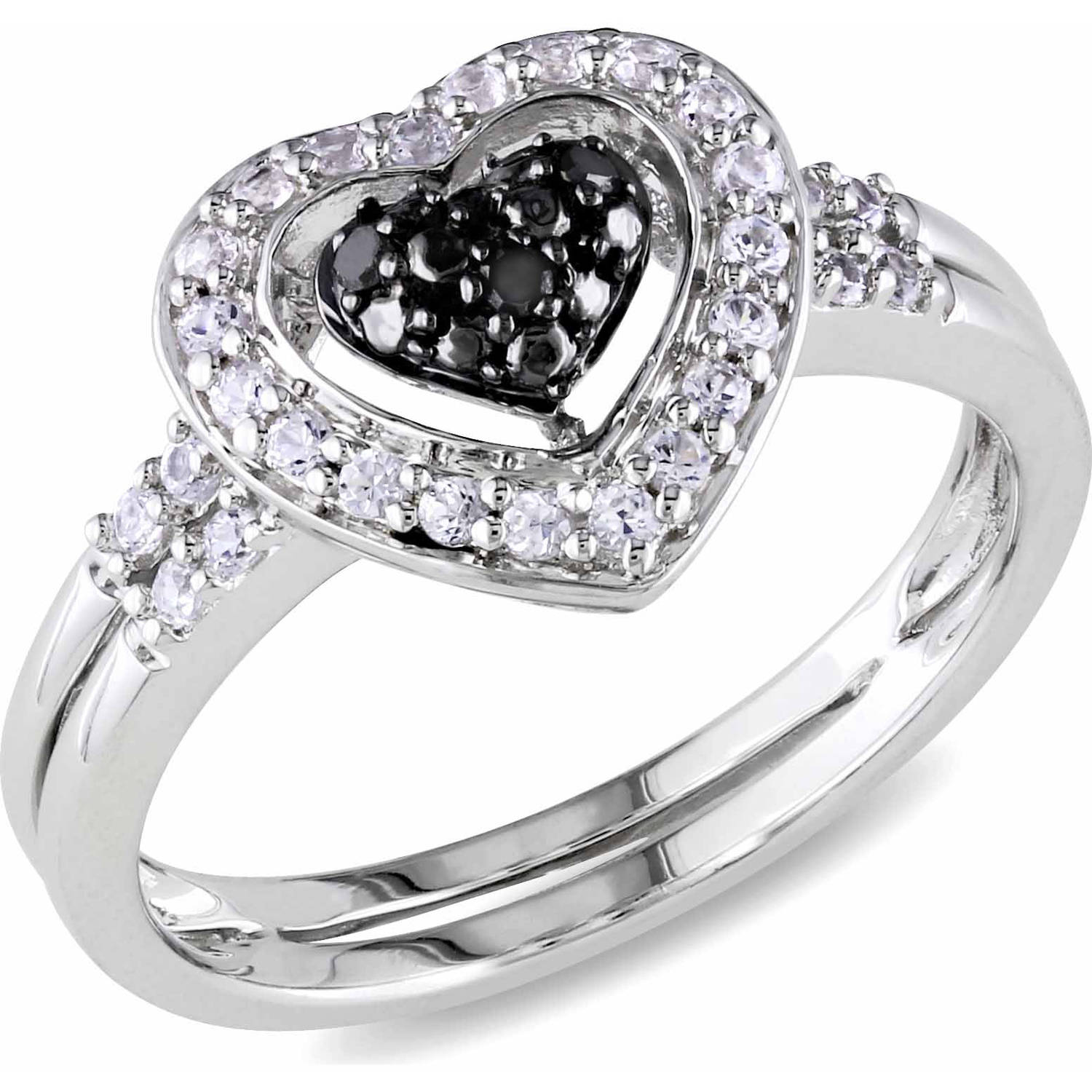 1/3 Carat T.G.W. Created White Sapphire and Black Diamond-Accent Sterling Silver Double Band Heart Ring
