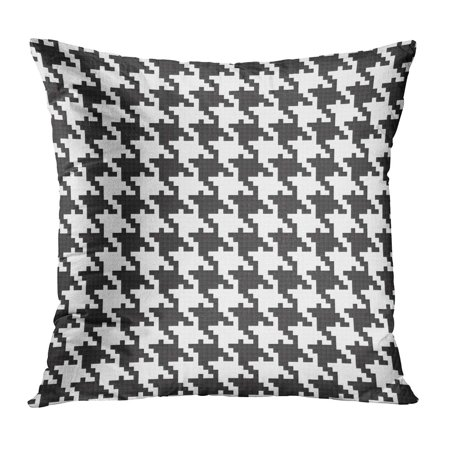 Black And White Tweed (ECCOT Houndstooth Fully Black and White Hounds Tooth in Classic Mod Tweed Abstract Check Pillow Case Pillow Cover 16x16 inch)