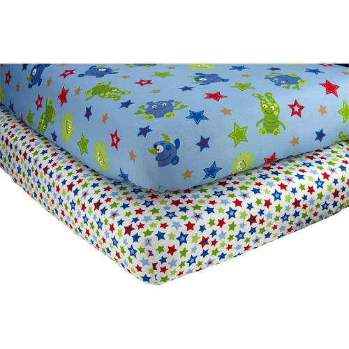 Little Bedding by NoJo Monster Babies Set of 2 Crib Sheets