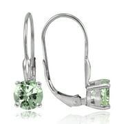 Sterling Silver 1.5ct TGW Green Amethyst 6mm Round Leverback Earrings