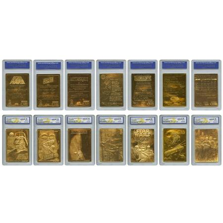 - STAR WARS 1996 Original Genuine 23KT Gold Cards - Graded Gem-Mint 10 - SET OF 7