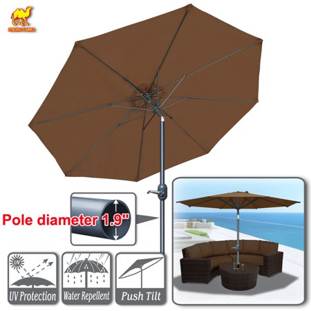 Strong Camel Patio Umbrella 10' with Tilt and Crank 8 Ribs Outdoor Garden Market Parasol Sunshade (Brown)
