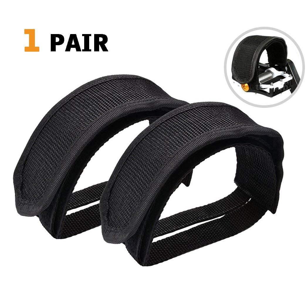 1 Pair Bike Cycling Pedal Nylon Strap Clip Toe Strap Replacement Black Pedal