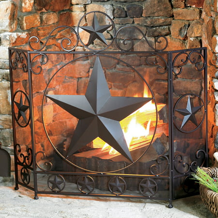 Lone Star Rustic Fireplace Screen - Western Decor Elk Rustic Fireplace Screen