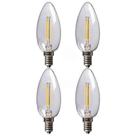 SleekLighting 2 Watt E12 LED Filament Candelabra Dimmable Light Bulb, Warm White 2700K Chandelier Decorative Torpedo Tip, Clear Glass Cover (25W Incandescent Replacement) (Decorative Torpedo)