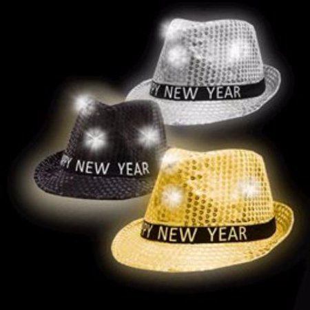 1 Dozen Led Happy New Year Fedoras Assorted Black Gold And Silver