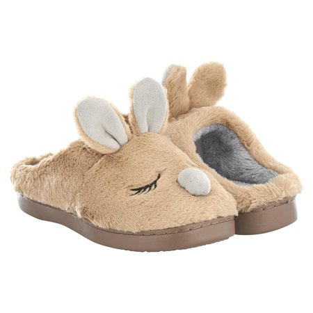 SERANOMA Women's Coral Fleece Bunny House Slippers With Anti-Slip Rubber Sole