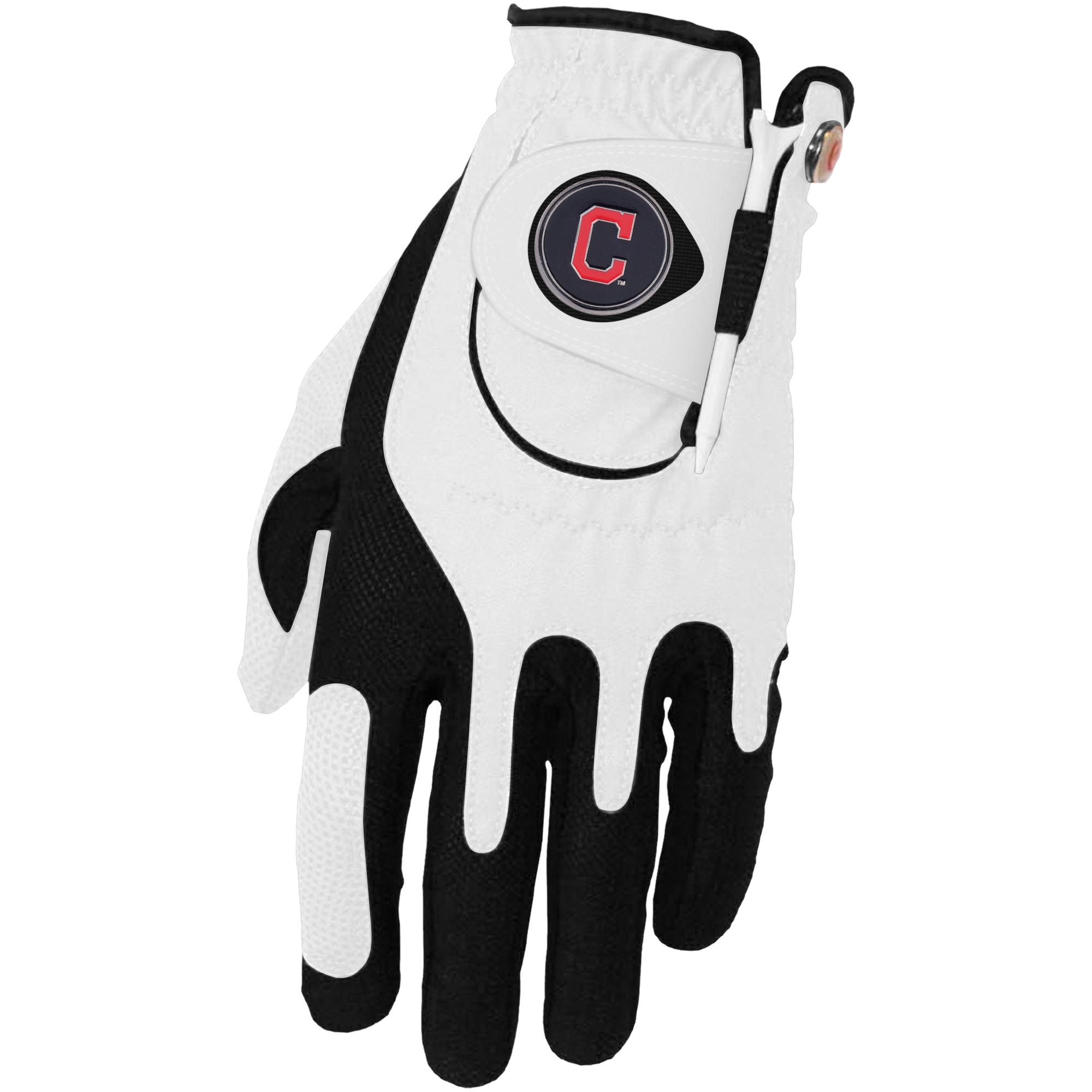 Cleveland Indians Left Hand Golf Glove & Ball Marker Set - White - OSFM