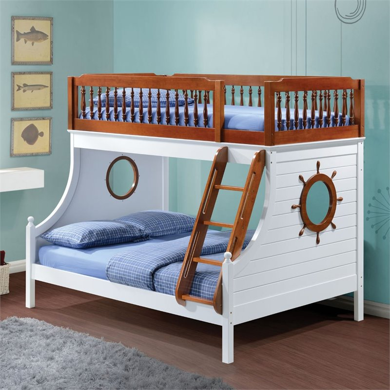 Bowery Hill Twin over Full Bunk Bed in Oak and White