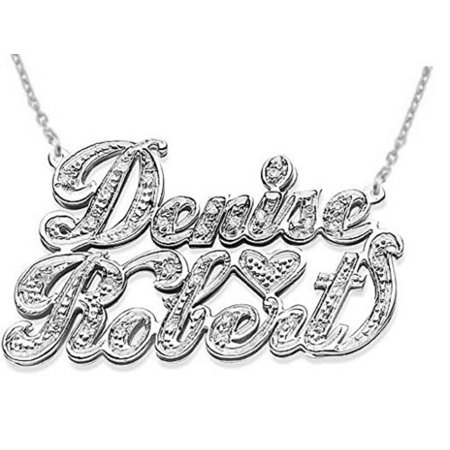 Personalized 2 Name 0.25 CTW Diamond Nameplate Necklace 14K Yellow or 14K 14K White Gold. Special Order, Made to Order.