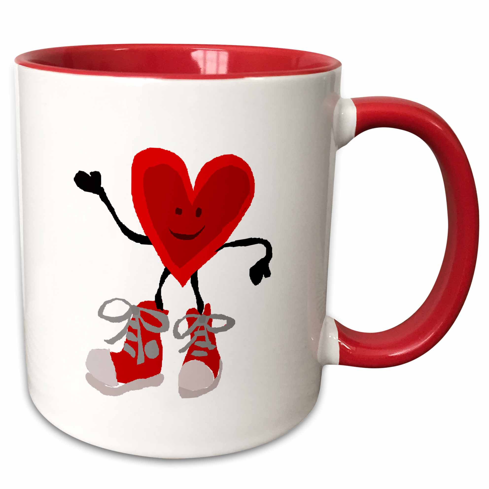 3dRose Funny Red Heart Character Wearing Red High Top Sneakers - Two Tone Red Mug, 11-ounce