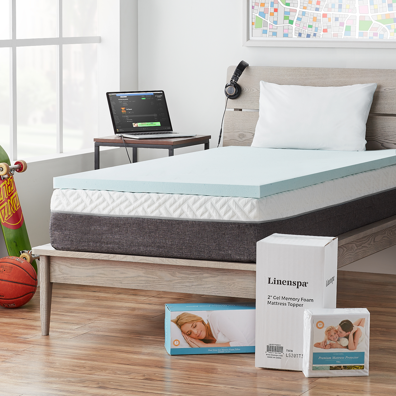 Linenspa Bedroom Basics Bundle - Includes Topper, Protector, Pillow