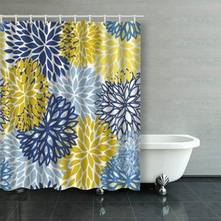 ARTJIA Spring Flower Seamless Pattern Blue Yellow Shower Curtains Bathroom Curtain 60x72 Inch - Yellow Shower