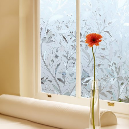 Removable Waterproof 3D Window Glass Film PVC Frosted Decorative Flower Sticker Static Cling Anti Uv Home Bathroom Protect Privacy Decor 17x40""