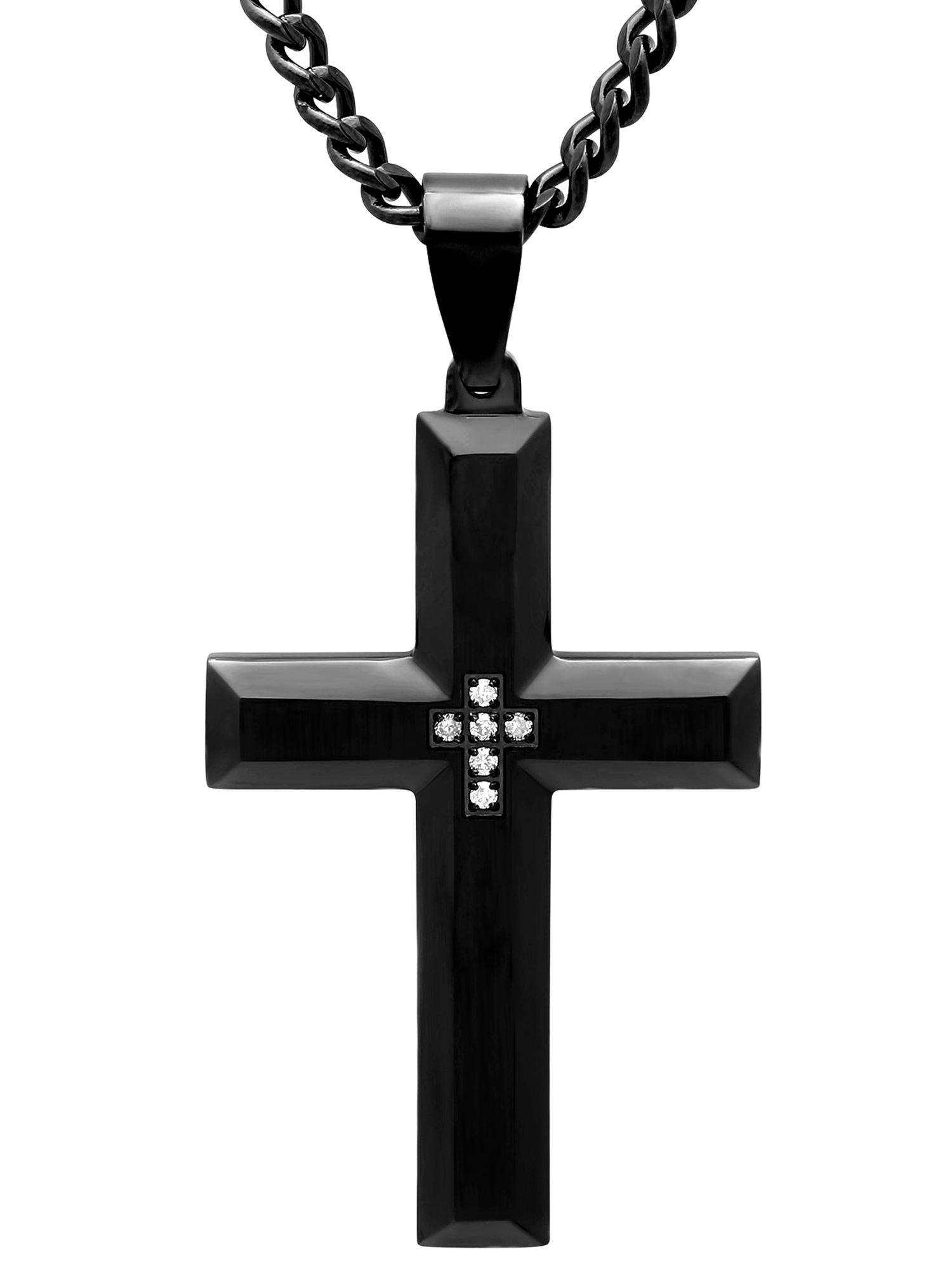 """Men's Black IP Stainless Steel Diamond Accent Cross with 24"""" Curb Chain - Mens Pendant"""