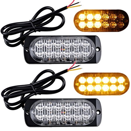 2-pack 12-LED Amber Light Emergency Warning Strobe Flashing Bar Hazard Grill - Emergency Strobe Light Kits