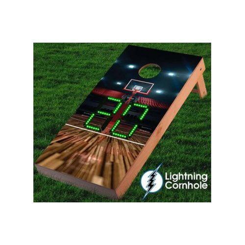 Lightning Cornhole Electronic Scoring Basketball Court Cornhole Board by