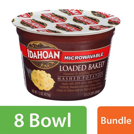 (8 Pack) Idahoan Loaded Baked Microwavable Mashed Potatoes, 1.5 oz (Halloween Mashed Potato Recipes)