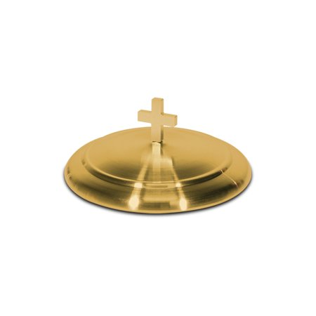 Communion Bread Plate Cover   Brasstone Stainless Steel   6 5 Inch