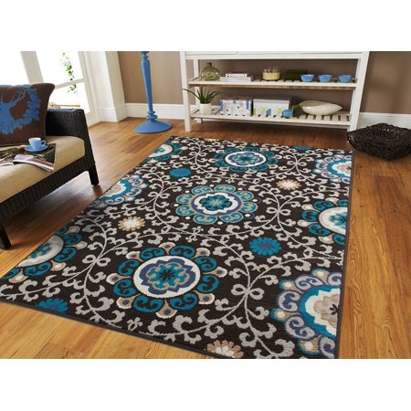 Black Modern Rug 5x8 Blue Area Rugs On Clearance 5x7