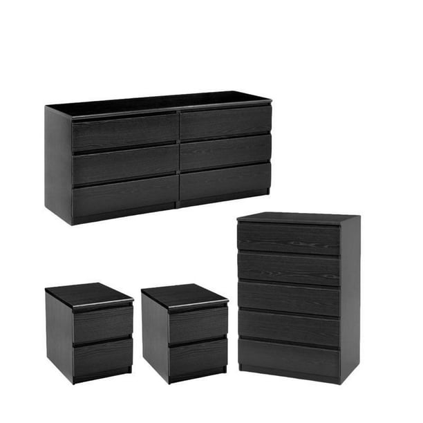 4 Piece Set with 6 Drawer Dresser 5 Drawer Chest and Two Nightstands in Black Woodgrain