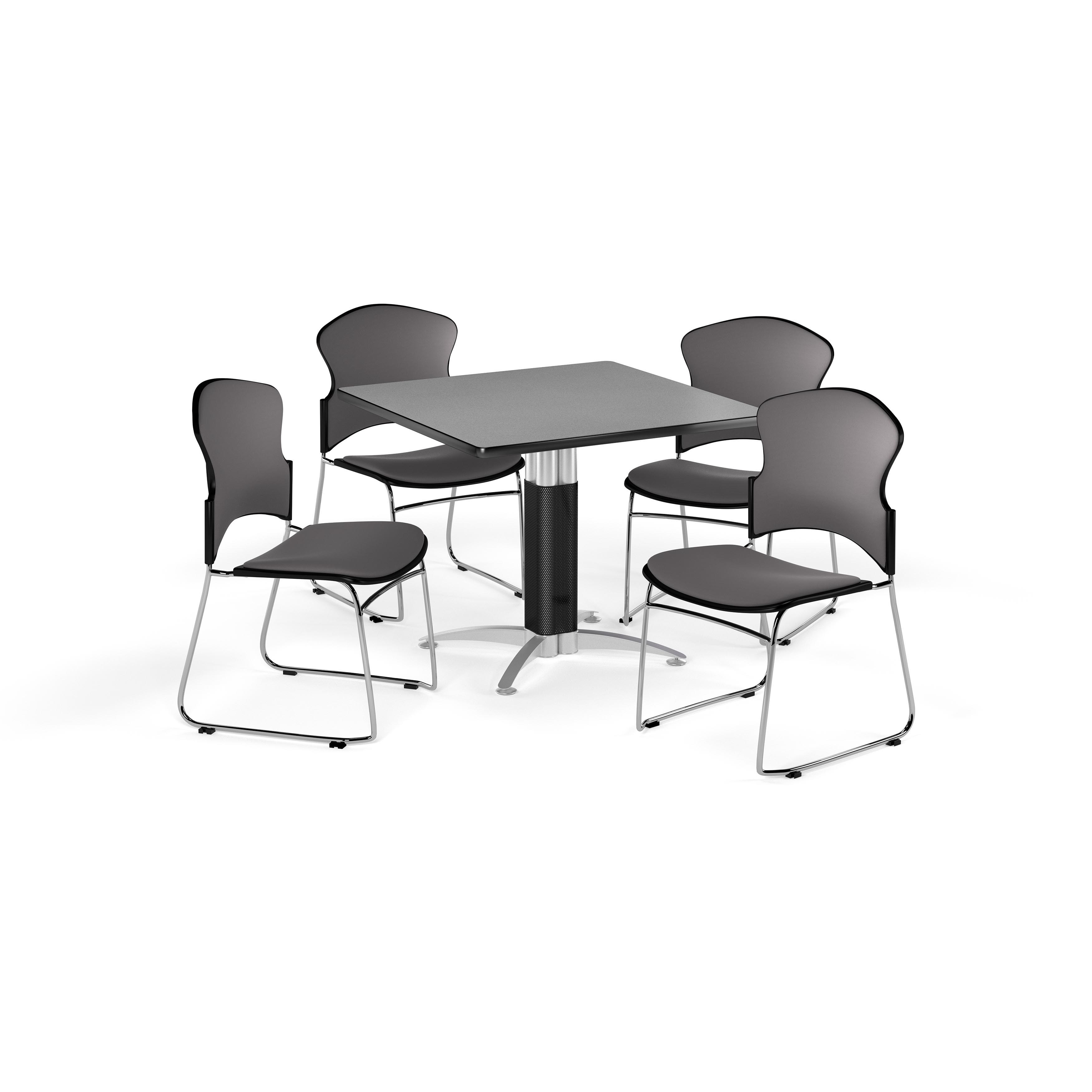 """OFM Multi-Use Break Room Package, 42"""" Square Table with Fabric Stack Chairs, Cherry Finish with Metal Mesh Base and Gray Seats (PKG-BRK-048)"""
