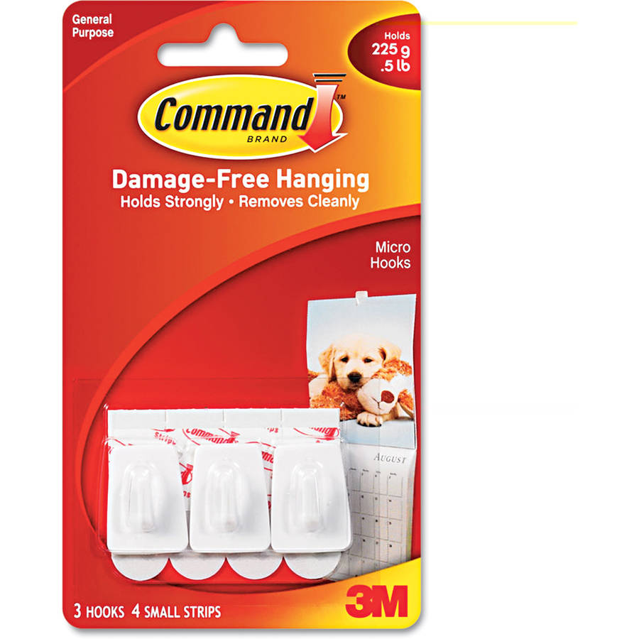 Command General Purpose Hooks, Plastic, White, 3/Pack