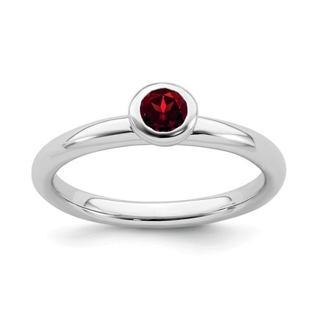 Low Cost Silver Jewelry (Roy Rose Jewelry Sterling Silver Stackable Expressions Low 4mm Round Garnet Ring Size 6)