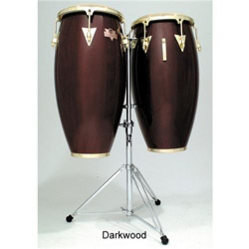 Latin Percussion LC747DWG Caliente Series Conga Set with Stand (Dark Wood)