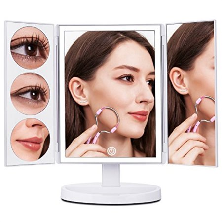 makartt xlarge lighted big makeup mirror 3x/5x/10x magnifying trifold vanity mirror best gift for women
