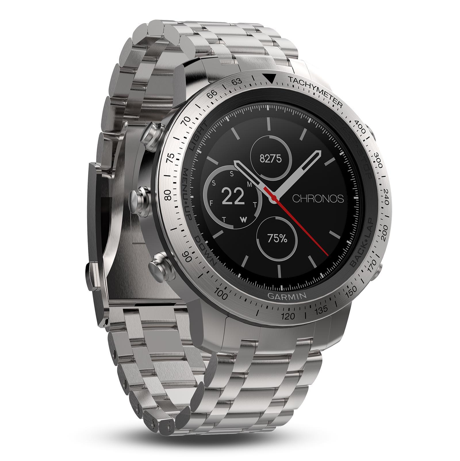 Garmin Fenix Chronos GPS Multi Sport Smart Fitness Brushed Stainless Steel Watch