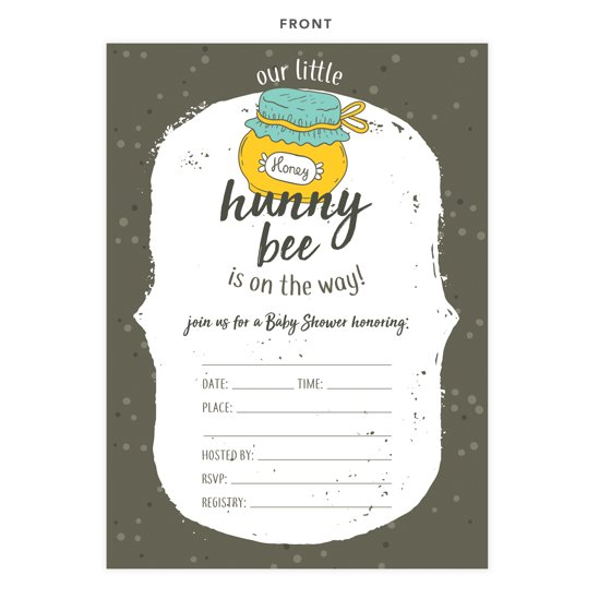 Bee 1 Bumble Bee Baby Shower Invitations Invite Cards 25 Count