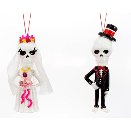 Day Of The Dead Bride and Groom Christmas Holiday Ornaments Set of 2](Dead Bride And Groom)