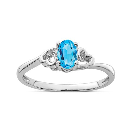 Sterling Silver Rhodium-plated Light Swiss Blue Topaz Ring - image 2 de 2