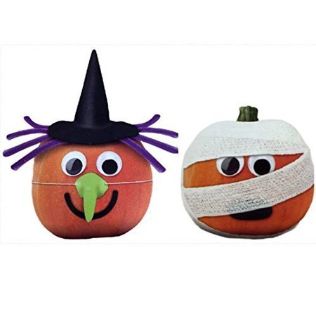 Witch and Mummy Pumpkin Decorating Kits Set of 2 By Crafters Square (Decorated Pumpkins)