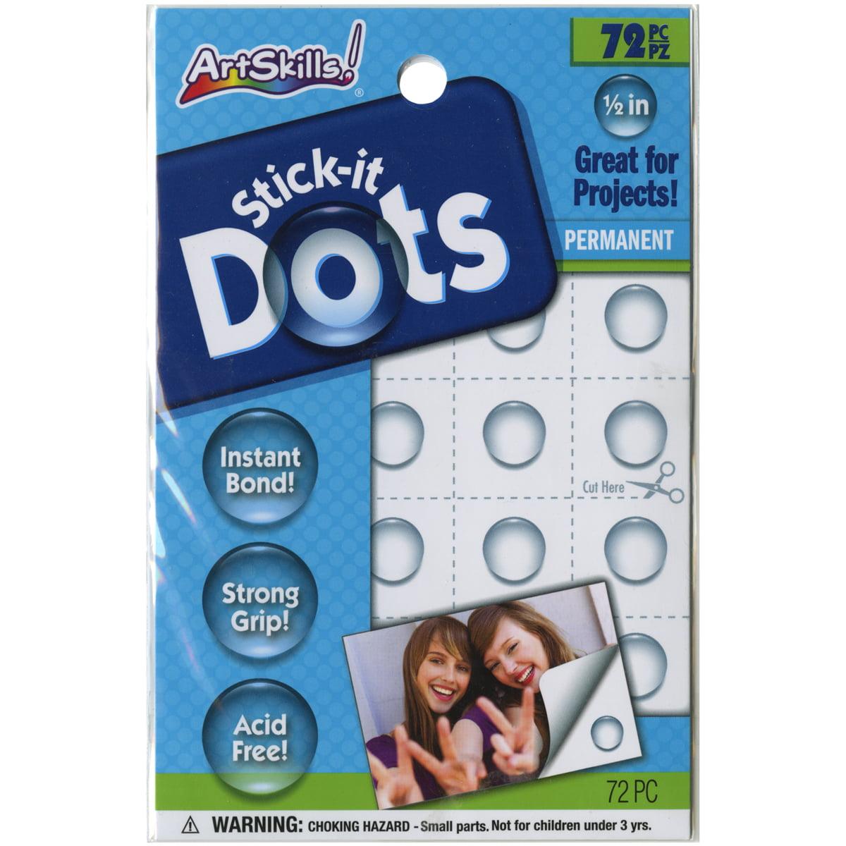"Quick Stick Permanent Adhesive Dots .5"" 72/Pkg-"
